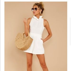 White romper with tie back